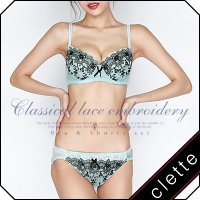 大きいサイズ レディース クラシカルレース刺繍ブラジャー&ショーツセット|clette-online