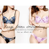 大きいサイズ レディース 大花刺繍ブラジャー&ショーツセット|clette-online|02