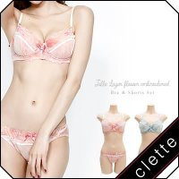 大きいサイズ レディース チュール重ね花刺繍ブラジャー&ショーツセット|clette-online