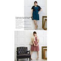大きいサイズ レディース フロントプリーツデザインワンピースドレス clette-online 06
