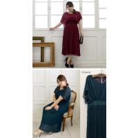 大きいサイズ レディース プリーツデザインロングワンピースドレス clette-online 04
