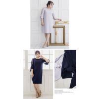 大きいサイズ レディース 袖リボンAラインワンピースドレス|clette-online|04