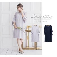 大きいサイズ レディース 袖リボンAラインワンピースドレス|clette-online|08