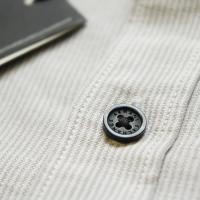 ARMANI EXCHANGE アルマーニ エクスチェンジ REGULAR FIT ショート襟 スラブ生地 綿麻 切替ストライプシャツ ライトグレー