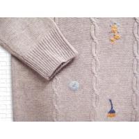[ニット] 刺繍入りウール混ニットプルオーバー