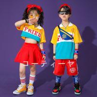 キッズダンス衣装 HIPHOP ヒップホップ 韓国子供服 ジャズダンス 夏 応援団 ステージ衣装 練習着 ダンスウェア 発表会 女の子 男の子 上下セット Tシャツ パンツ