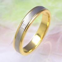 ◆地金:プラチナ900/K18ゴールド ◆使用石:ダイヤモンド(0.02ct) ◆リング幅:約3.5...
