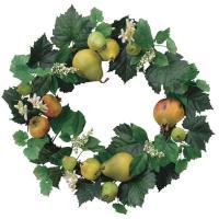 クリスマスプレゼントに 送料無料 アートフラワー 造花 光触媒 人工観葉植物 フェイクグリーン 壁掛け「フルーツリース」