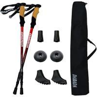 (あすつく)DABADA(ダバダ):トレッキングポールSG レッド a-pole 2本セット SGマーク取得 アルミ製 登山杖 アンチショック