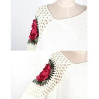【予約商品】【2カラー】 薔薇 刺繍 ふわふわ モヘア ニット