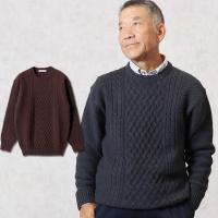 肉厚のウール100%でしっかりとあたたかい丸首セーター。 昔からの定番ケーブル編みは、お洒落で高級感...