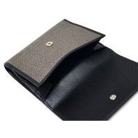 ブルガリ 財布 32037 Wホック コレツィオーネ1910 コーティッド ヘリテージ キャンバス マッドブラウンxカーフ ブラック
