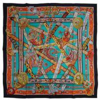 エルメス スカーフ ソルド カレ ツイル シルク100% 90CMS LE SONG DE LA LICORNE ブラック/ブルーグリーン/オレンジ 29173