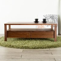 天然木無垢材のforesリビングテーブルシンプルデザインの天然木のセンターテーブル。実用的な引出し収...