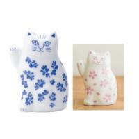 リサラーソン まねくねこのこ 招き猫  陶器 置物 ブルー/ピンク 波佐見焼 lisa larson