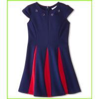 Us Angels Ponte Cap Sleeve Fit & Flair w/ Contrast Pleat (Little Kids) Us Angels Dresses WOMEN レディース Navy