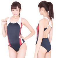 セクシーだけどスポーティー!体のラインが美しく見える競泳水着コスチューム。●紺×白×ピンクの三色デザ...