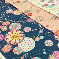 和柄の花柄がおしゃれなポプリンリップル生地。 オフホワイト、ピンク、ネイビーの3色展開です。  リッ...