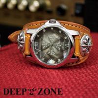 カットガラスが美しいラウンドフェイス、 ジルコニアクロス文字盤 [Deep Zone]オリジナルムー...