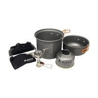 コストパフォーマンスに優れたコンパクトストーブ「アミカス」と鍋、湯沸し等として使用できる大・小2つの...