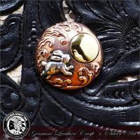 シルバーコンチョ/シルバー925×ブロンズ(銅)×ブラス(真鍮)/ハンドメイド/レザーウォレット(革財布)などのカスタマイズ用に/cho-go014
