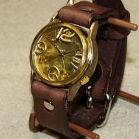 手作り腕時計 ハンドメイド 渡辺工房 On Time-B メンズブラス/アンティーク調/レトロ