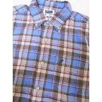 Pherrow's[フェローズ] ボタンダウンシャツ ダブルガーゼ チェック BDシャツ 13S-PBD1-C (サックス)