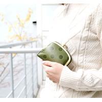 二つ折り財布 折り財布 がま口 本革 牛革 日本製 国産 ドット 水玉 グリーン オレンジ キャメル 女性 レディース  おしゃれ  送料無料 PR10 母の日