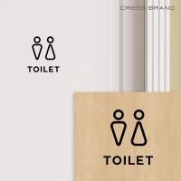 トイレ 44(ツヤ消しマット)再剥離タイプ カラー選択 サイン ウォールステッカー トイレ ステッカー モノトーン シンプル おしゃれ メール便 送料無料