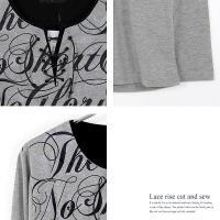 Tシャツ レースアップ カットソー ブラック グレー ホワイト メンズ フェイクレザー リブ カジュアル 長袖 B-08-WY8308eb jan19