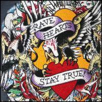 エドハーディー Tシャツ メンズ Ed Hardy プラチナム ストーン Vネック BRAVE HEARTS STAY TRUE ブラック