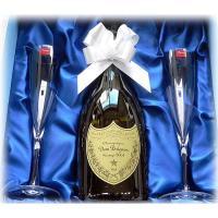 「結婚祝いや還暦祝いのお祝いにドンペリ&バカラのペアシャンパンフルートグラスセット」ドンペリと名入れ...