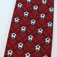 面白ネクタイ・サッカーボール・レッドのユニークネクタイ