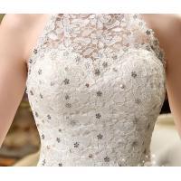 二枚送料無料 ウエディングドレス ロング 掛首カラー スレンダー プリンセス パニエドレス スパンコール付き