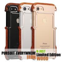 iphone7/7 plus 専用  ◆R-JUST新発売超人気金属&ウッドのハイブリッドケ...