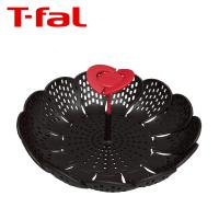 どんなお鍋の大きさにもサイズ調節可能な折り畳み蒸し器。ガラス蓋と同じデザインのつまみは、お鍋から蒸し...