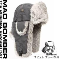 304GRY MAD BOMBER hat ロシアファー帽子 マッドボンバーキャップ ハット スキー...