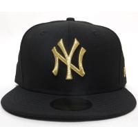 ニューエラ キャップ 帽子 NEW ERA 59FIFTY ニューヨーク・ヤンキース ブラック×ゴールド
