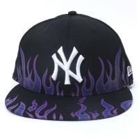 ニューエラ キャップ 帽子 NEW ERA 59FIFTY ファイアーパターン ニューヨーク・ヤンキース ブラック×ホワイト (11557558)