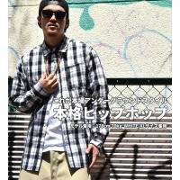 チェックシャツ メンズ 長袖 カジュアルシャツ ロング丈 大きいサイズ B系 ストリート ファッション 秋冬