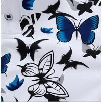 2枚送料無料!メンズポロシャツ 黒 白 蝶柄プリント 花柄 中国風 ストリート系 爽やか コットン オーバーサイズ 紳士