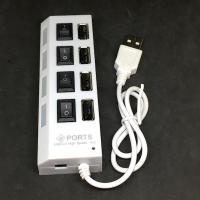 ポートごとに電源スイッチがついた 4 ポートの USB 2.0 仕様のハブです.個別スイッチつきの電...