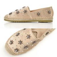 パンプス  靴 大きいサイズ 小さいサイズ 花形 ビジュー 付 サテン スリッポン/ベージュ/XS S M L LL/1cm ヒール