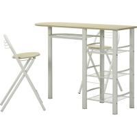 不二貿易 カウンターテーブル&チェアーセット/95246 ホワイト/1200×400×875mm