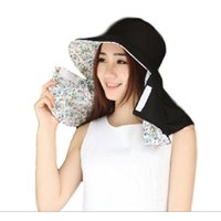 【Baby Marine】 花柄 UVカット 帽子  (ブラック)紫外線対策 日除け 日焼け防止 つば広 ハット