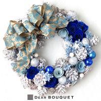 DearBouquet(ディアブーケ)のマジョリカブルーのプリザーブドローズのクリスマスリースです!...