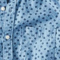 大きいサイズ メンズ アメリカンイーグル AMERICAN EAGLE 長袖シャツ シャンブレードットシャツ XL XXL XXXL
