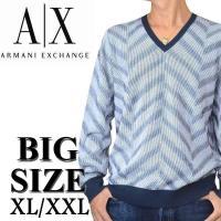 大きいサイズ メンズ アルマーニエクスチェンジ A/X ARMANI EXCHANGE Vネック ニ...