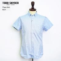 TODD SNYDER トッドスナイダー SH117064 SS pique Shirt BL01 Blue ショートスリーブ ピケ シャツ メンズ 半袖 シャツ SP'17