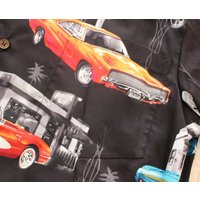 RJC ロバート・J・クランシー アロハシャツ メンズ アメ車 クラシックカー ハワイ製 黒 コットン
